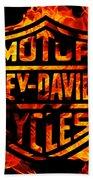 Harley Davidson Logo Flames Bath Towel