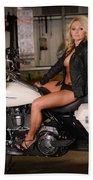 Harley Davidson Motorcycle Babe Bath Towel