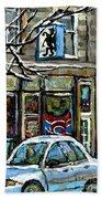 Achetez Les Meilleurs Scenes De Rue Montreal St Henri Cafe Original Montreal Street Scene Paintings Bath Towel