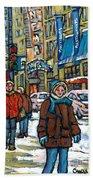Achetez Les Meilleurs Scenes De Rue Montreal Best Original Art For Sale Montreal Streets Paintings Bath Towel