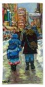 Exceptional Canadian Artist Winter Scene Paintings Downtown Montreal Achetez Scenes De Quebec  Bath Towel