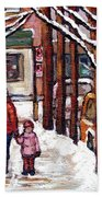 Canadian Winter Scene Paintings Original Art Verdun Montreal Achetez Scenes De Rue Quebec C Spandau  Bath Towel