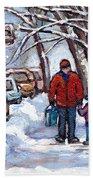 Paysages De Verdun Quebec A Vendre Original Verdun Montreal Winter Staircase Street Scene Paintings  Bath Towel