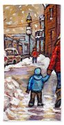 Original Montreal Street Scene Paintings For Sale Winter Walk After The Snowfall Best Canadian Art Bath Towel