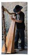 Harpist Street Musician, Barcelona, Spain Bath Towel