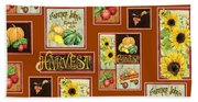 Harvest Market Pumpkins Sunflowers N Red Wagon Bath Towel