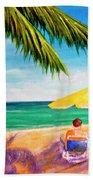 Hawaii Beach Yellow Umbrella #470 Hand Towel