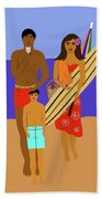 Hawaiian Family Beach Scene Bath Towel