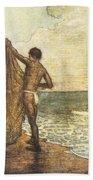 Hawaiian Fisherman Painting Bath Towel