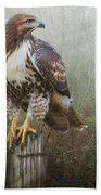 Hawk And Barbed Wire Bath Towel