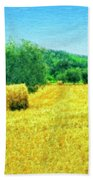 Hay Harvest In Tuscany Bath Towel