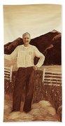 Haymaker With Pitchfork Vintage Bath Towel
