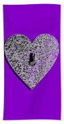 Heart Shaped Lock Purple .png Bath Towel