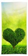 Heart Shaped Tree Growing On Green Grass Bath Towel