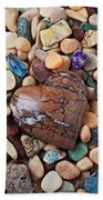 Heart Stone Among River Stones Bath Towel
