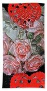 Hearts And Roses Bath Towel