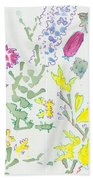 Heather And Gorse Watercolor Illustration Pattern Bath Towel
