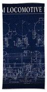 Heavy Steam Locomotive Blueprint Bath Towel