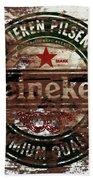 Heineken Beer Wood Sign 1a Bath Towel