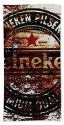 Heineken Beer Wood Sign 1j Bath Towel