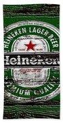 Heineken Beer Wood Sign 2 Bath Towel
