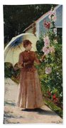 Henri Emile De Sachy France 19th Century Elegant Young Lady In The Garden Walk At Hollyhocks Bath Towel