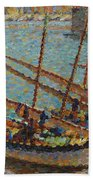 Henri Martin 1860 - 1943 Boats To Collioure Bath Towel