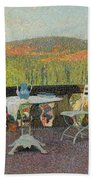 Henri Martin 1860 - 1943 Tea Time On The Terrace Marquayrol Bath Towel