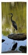 Heron By The Lake Bath Towel