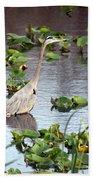 Heron Fishing In The Everglades Bath Towel