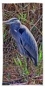 Heron In Marshes Bath Towel