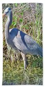 Heron In The Wetlands Bath Towel