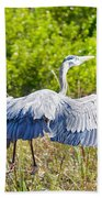 Heron On The Rise Bath Towel