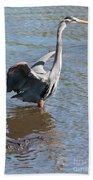 Heron With Gator Bath Towel