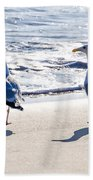Herring Gulls On The Beach Bath Towel