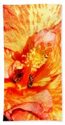 Hibiscus And Bees Bath Towel