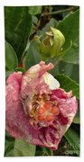 Hibiscus Bloom Closed In The Rain   End View      May           Indiana      Bath Towel