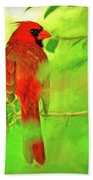 Hiding Behind The Leaves - Male Cardinal Art Bath Sheet by Kerri Farley