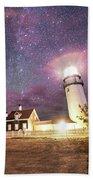 Highland Light Truro Massachusetts Cape Cod Starry Sky Shadow Yard Bath Towel