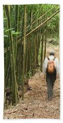 Hiker In Bamboo Forest Bath Towel
