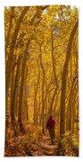 Hiking In Fall Aspens Bath Towel
