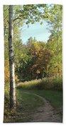 Hiking Trail In Autumn Sunset Bath Towel