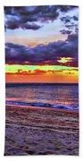 Hillsboro Beach Orange Sunset Hdr Bath Towel