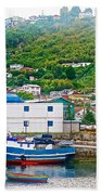 Hillside Along Harbor Near Angelo Fish Market In Puerto Montt-chile  Bath Towel