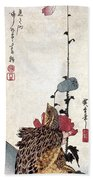 Hiroshige: Poppies Bath Towel