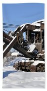 Historic Mining Steam Shovel During Alaska Winter Hand Towel