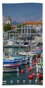 Historic Port Of Nice, France Bath Towel