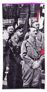 Hitler With Nazi Entourage Hess And Himmler In 2nd Row Circa 1935 Color Added 2016 Bath Towel