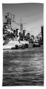 Hms Belfast And Tower Bridge 2 In Black And White Bath Towel