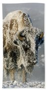 Hoarfrosted Bison In Yellowstone Bath Towel